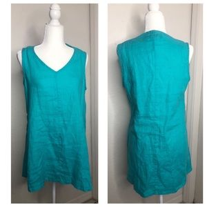 Flax 100% Linen Size P 4/6 Turquoise Tunic Top